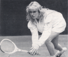 Lesley Ronaldson playing real tennis